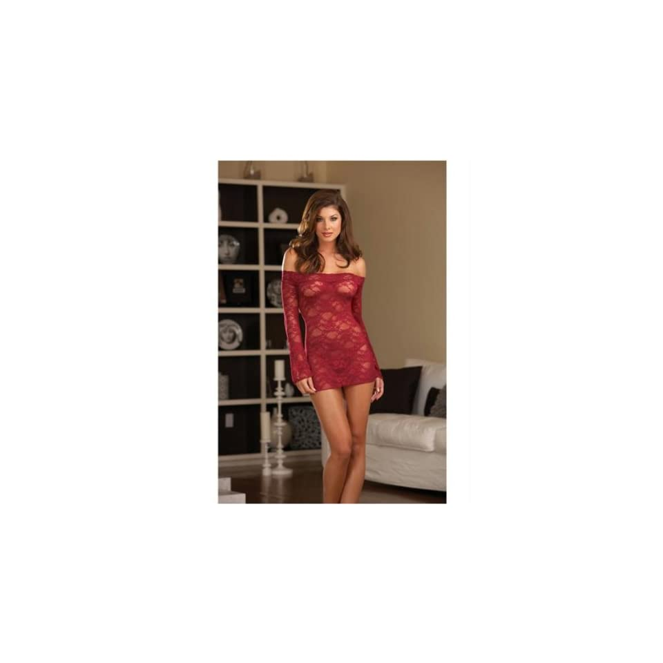 Hanging stretch lace & bell sleeved chemise w/removable shoulder straps & thong raspberry small