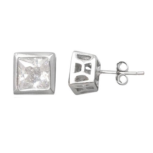 925 Sterling Silver White Cubic Zirconia 6mm Stud Earring for Man Jewelry