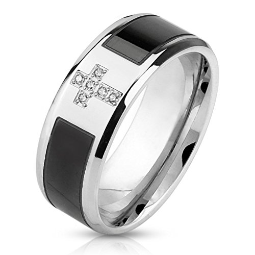 8Mm Two Tone Black Strip Inlay Center With Cz Cross Stainless Steel Wedding Band - Size 9
