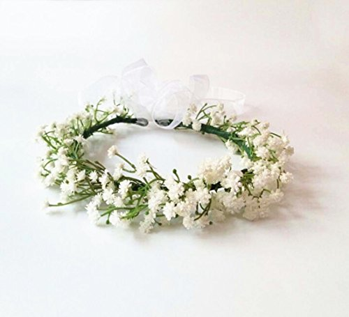 Wedding Bridal Babys Breath Bride Goddess Flower Crown Headpiece Halo Artificial Flowers Woodland Hair Piece Wreath Garland Holiday Photography Props White