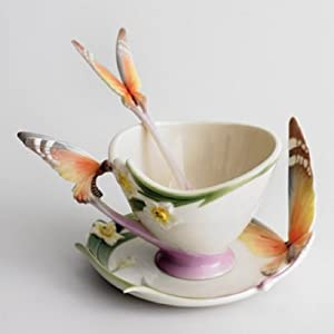 Franz Papillon Butterfly Design Sculptured Porcelain Cup, Saucer, and Spoon Set