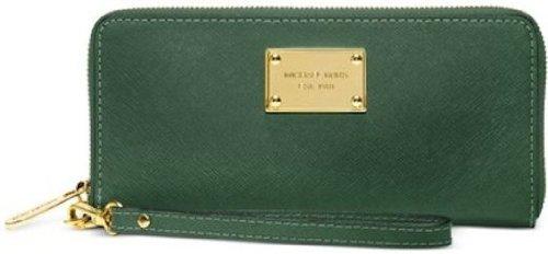 Michael Kors Malachite Zip Tech Continental Saffiano Leather Wallet Iphone Holder