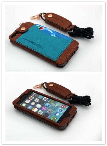 Nine States Durable Pu Leather Back Cover Universal Protection Lanyard Case For Iphone 5 5S 5C With Earphone Smart Cord Wrap Credit Card Holder Color Varies Brown
