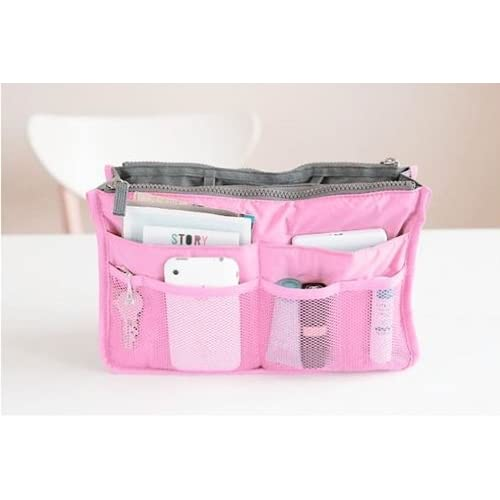 【バッグインバッグ】ピンク ちょっとした外出や旅行、毎日鞄を変える方に便利!