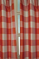 Ivory & Orange toned faux silk buffallo checks curtain