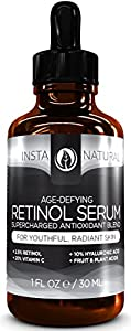InstaNatural Retinol Serum - With 2.5% Retinol, 20% Vitamin C, 10% Hyaluronic Acid, Vitamin E - Anti-Aging Serum For Face - 1 OZ