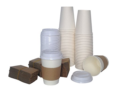 Corv's Cups Disposable Coffee Cups with Lids and Sleeves, 12-Ounce (Pack of 50) (Solo Cream Soda compare prices)