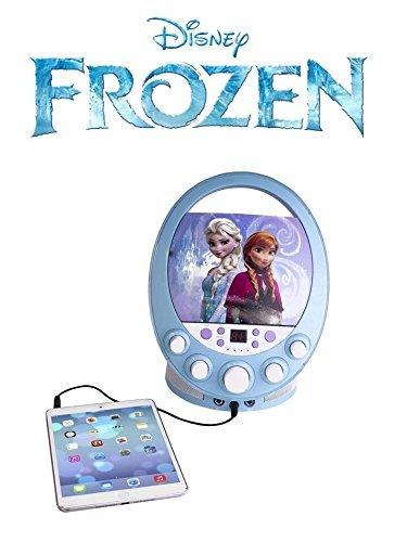 Machine karaoke portable pour enfants Kit d'enceintes pour enfants/tout petits Jouets avec microphone et lecteur MP3 Prise jack AUX pour iPhone, iPod Enceinte karaoke Disco Party CD+G Disney Disney Frozen avec lumieres clignotantes