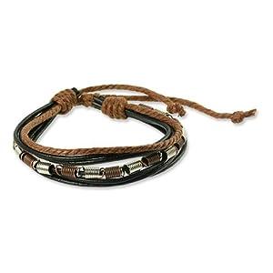 SilberDream Bracelet de Cuir Surfeur style Couleur noir, marron Taille depuis 18cm Bracelet pour homme LA1237S