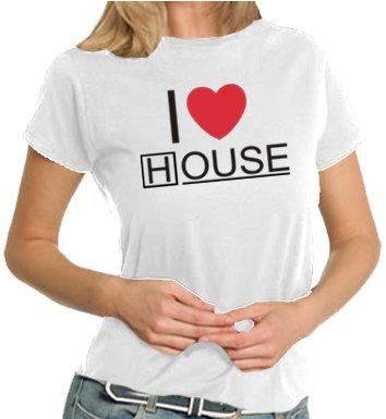 Touchlines T-shirt da donna I Love House, white, m, TL172