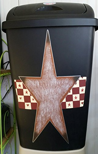 Primitive Country Rusty Tin Star Checkered Large Kitchen Trash Can with Lid (Retro Kitchen Trash Can compare prices)