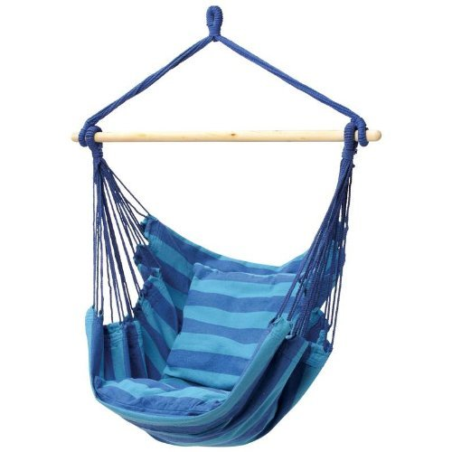 The Original Club Fun Hanging Hammock Rope Chair For Indoor Outdoor Kids and Adults 265 lbs Seating for Patio, Bedroom, Dorm, Porch, Tree In Blue Stripes (Outdoor Kid Furniture compare prices)