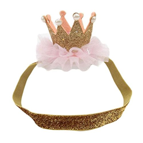 Baby Birthday Crown Headwear, Misaky  Hairband Baby Elastic Flower Hair Band (Free Size, Gold)