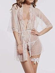 Nitein Women's Robe Nighty With G String (White_Free Size)