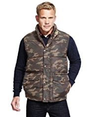 North Coast Camouflage Print Padded Gilet