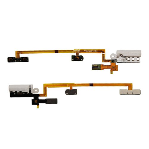 Audio Headphone Jack with Power Volume Key Flex Cable for iPod Nano 6th Gen - White replacement audio earphone jack power volume key flex cable for iphone 3gs golden white