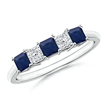 buy Square Sapphire And Diamond Cluster Three Stone Ring In Platinum