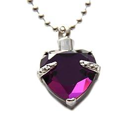 Purple Heart Cremation Urn Necklace Jewelry Memorial Keepsake Pendant Ash Holder
