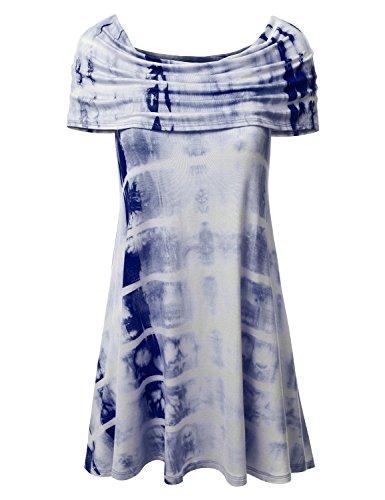 DRESSIS Women's Tie-Dye Flounce Layered Flare Dress NAVY L