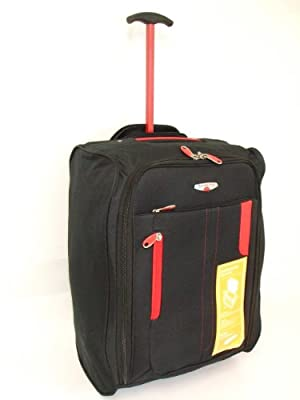 Black & Red 2 Wheeled Super Lightweight Hand Luggage Holdall Onboard Flight Bag CABIN APPROVED Suitcase On Wheels by Funkytravelbags