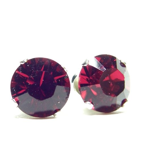 In vogue 925 Sterling Silver Stud Earrings set with 7mm Ruby Swarovski Crystal Stones. Gift Box. Made in England. Beautiful jewellery for very special people.