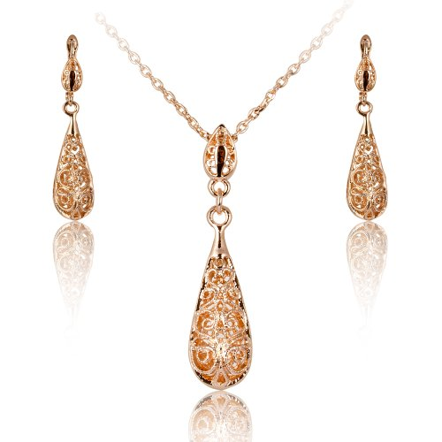 18k Gold Plated Antique Style Tear Drop Filigree Floral Pendant Necklace and Earring Click-top Hook Set S76 image
