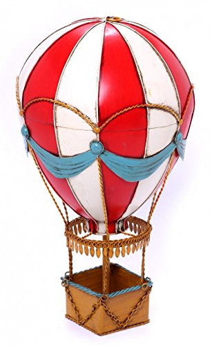Model Hot-Air Balloon - red/white striped - Retro Tin Model