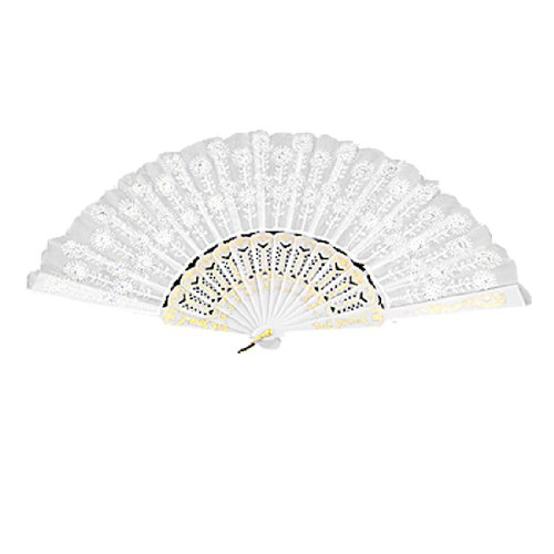 uxcell® Sequin Flower Detailings Nylon Hand Folding Fan White