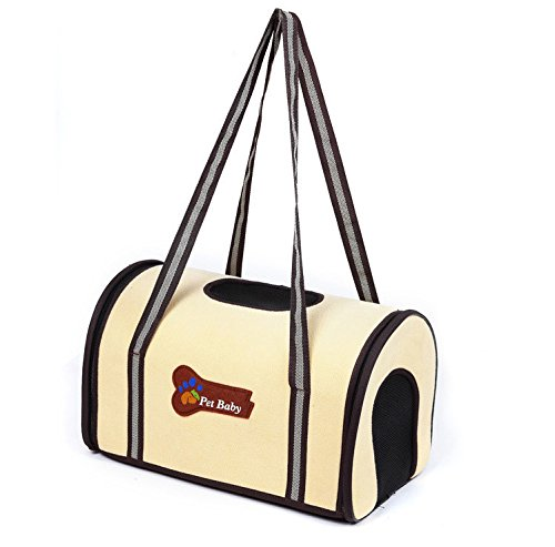 PETTOM Pet Dog Cat Travel Tote Soft Side Outdoor Airline Approved Carrier (Small, Yellow)