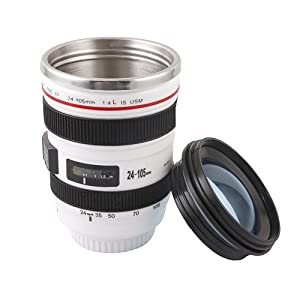 Apollo23 Stainless Steel Liner Camera Lens Cup Mug Canon EF 24-105mm F4 Filter for Coffee Milk Water, White