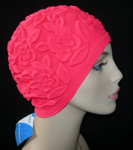 Hot Pink Flower Ladies Latex Swimming Hat Bathing Cap