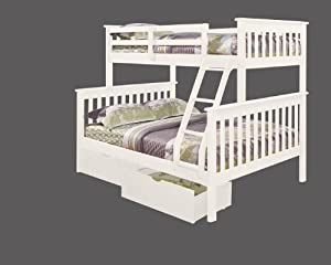 Twin over Full Mission Bunk Bed with Drawers in White from DONCO