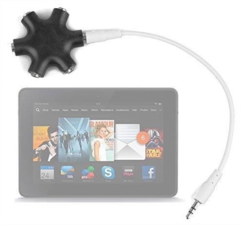 "Duragadget Jet Black 5-Way Headphone Splitter ""Star"" For Amazon Kindle Fire Hdx 7"" Tablet"