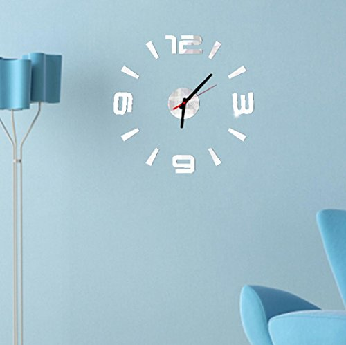 DaySeventh 3D DIY Wall Clock Mirror Surface Sticker Modern Home Office Decor (Silver)