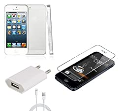 Cell Planet Temper Glass Back Cover and iPhone 5s Charger Combo for iPhone 5s