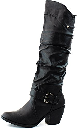 Mid Claf Buckle Ankle Strap Cowboy Boots Round Toe Knee High Combat Fashion Dress Casual Cowgirl Shoes