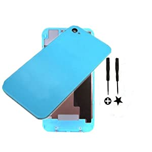 Globetradeexpert New Light Blue Battery Cover Back Door Rear Glass Housing Complete Set For OEM iPhone 4 Verizon CDMA
