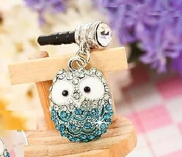CJB Dust Plug / Earphone Jack Accessory Elegant Blue Owl Rhinestone for iPhone 4 4S 5 6 Plus S6 All Device with 3.5mm Jack (US Seller) (Blue Dust Plug compare prices)