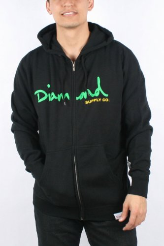 Diamond Supply - Mens OG Script Hoodie in Black, Size: X-Large, Color: Black