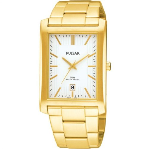 Mens Pulsar Gold Tone Stainless Steel Date Dress Watch PXDB28