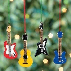 Resin Guitar Christmas Tree Ornaments - Set Of 4