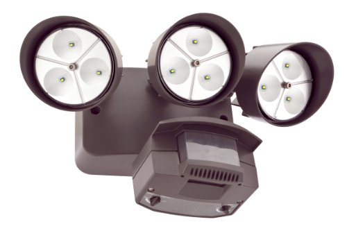 Lithonia Oflr 9Ln 120 Mo Bz M2 Led Outdoor 3-Light Floodlight With Motion Sensor, Bronze