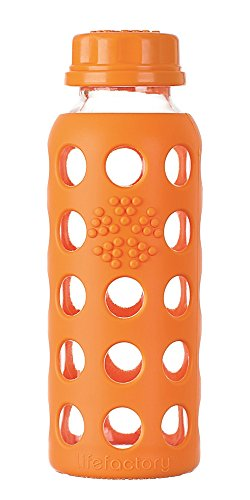 Lifefactory 9-Ounce Glass Bottle with Flat Cap and Silicone Sleeve, Orange