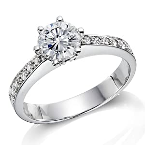 Diamond Engagement Ring 1 1/2 ct, E Color, SI1 Clarity, GIA Certified, Round Cut, in 18K Gold / White