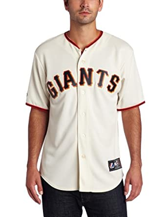 MLB San Francisco Giants Brian Wilson Ivory Home Short Sleeve 6 Button Synthetic... by Majestic