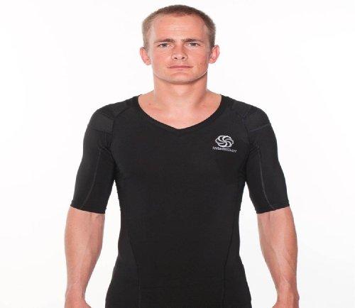 IntelliSkin Men's Posturecue V-Neck Tee, Black, X-Large (Intelliskin Llc compare prices)