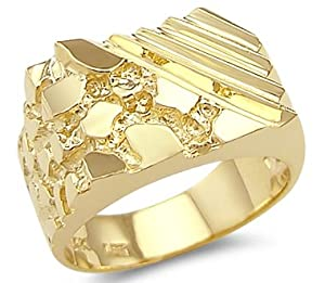 Size- 10 - New Solid 14k Yellow Gold Unique Large Mens Nugget Ring