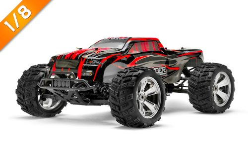 Iron Track Raider MegaE8MTL 1:8 SCALE ARTR 4WD Brushless Monster Truck (Red)