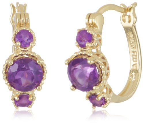 18k Gold Plated Sterling Silver African Amethyst Hoop Earrings (0.7″ Diameter)