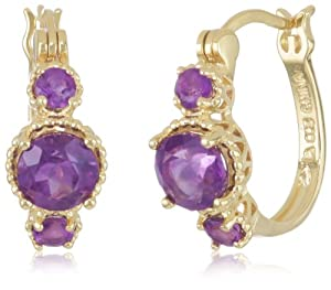 18k Gold Plated Sterling Silver African Amethyst Hoop Earrings (0.7